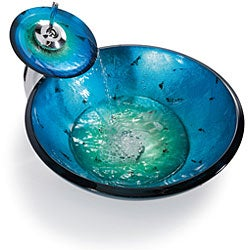 Kraus Irruption Blue Glass Vessel Sink/ Waterfall Faucet