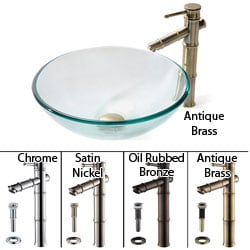 Kraus Clear Glass Vessel Sink/ Bamboo Bathroom Faucet