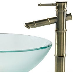 Kraus Frosted Vessel Sink and Bamboo-Style Bathroom Faucet