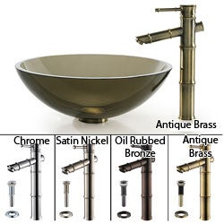 Kraus Clear Brown Glass Sink/ Bamboo Bathroom Faucet