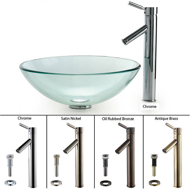 Kraus Clear Glass Vessel Sink and Sheven Faucet
