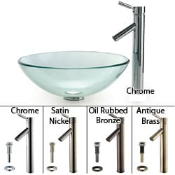Kraus Clear Glass Vessel Sink and Sheven Bathroom Faucet