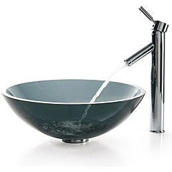 Kraus Clear Black Glass Sink and Sheven Faucet