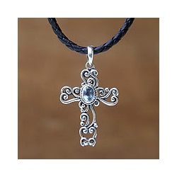 Sterling silver 'Balinese Cross' Topaz Necklace (Indonesia)