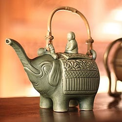 Ceramic 'Buddha and the Jade Elephant' Teapot (Indonesia)