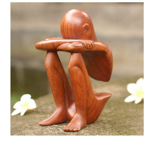 Abstract Rest Artisan Handmade Contemporary Modern Art Natural Brown Wood Human Figure Home Decor Gi 4070044