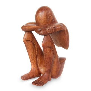 Abstract Rest' Wood Statuette, Handmade in Indonesia