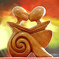 'Loving Embrace' Wood Statuette (Indonesia)