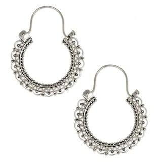 Balinese Lace of 925 Sterling Silver with Repeat Heart Motif Vintage Look Bohemian Womens Endless Hoop Earrings (Indonesia)