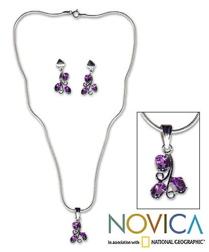 Amethyst 'Mystical Blooms' Jewelry Set (India)