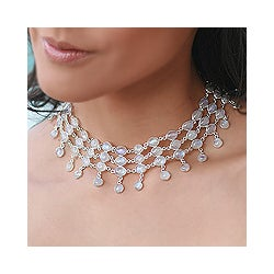 Silver and Moonstone 'Ice' Necklace (India)