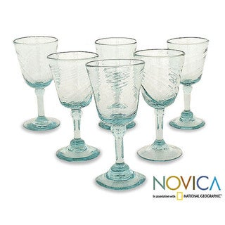 Set of 6 'Contoured' Wine Glasses (Mexico)