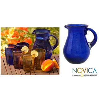 Glass 'Cobalt Charm' Pitcher (Mexico)