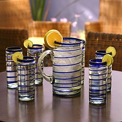 Set of Six Contemporary 'Cobalt Spiral' Highball Glasses (Mexico)
