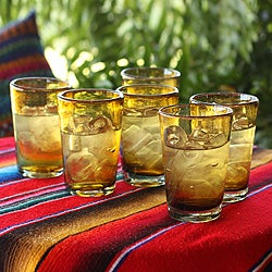 Set of 6 'Amber Angles' Drinking Glasses (Mexico)