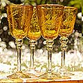 Set of 4 'Amber Flowers' Wine Glasses (Mexico)