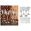 Set of 4 Etched 'Crystal Flowers' Wine Glasses (Mexico)