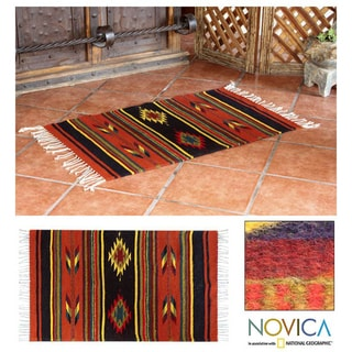 Mexican 'Swift Arrows' Wool Rug (2' x 3')