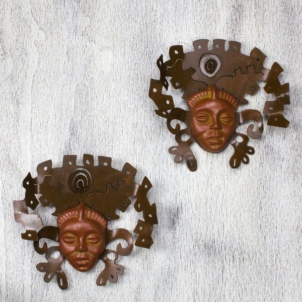 Iron and Ceramic 'Aztec Masks' Wall Adornment Pair (Mexico)