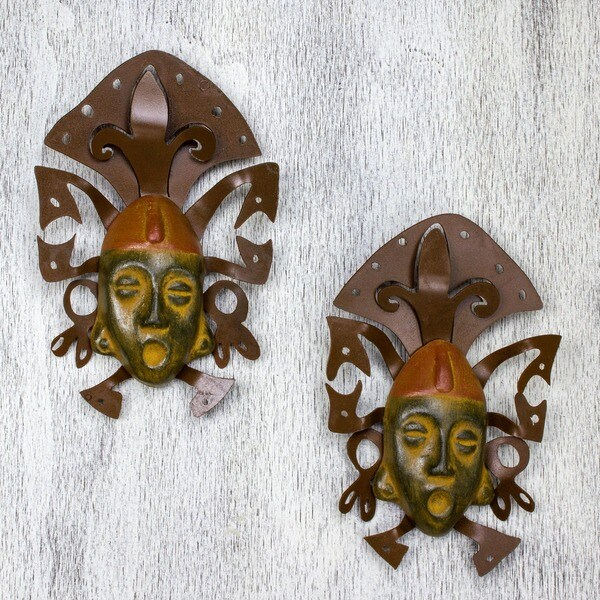 Iron and Ceramic 'Maya Masks' Wall Adornment Pair (Mexico)