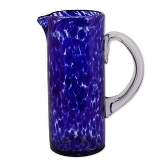 Glass 'Dotted Blue' Pitcher (Mexico)