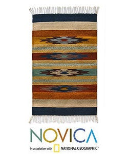 Mexican 'Stars on the Horizon' Zapotec Wool Runner (2' x 3'3)