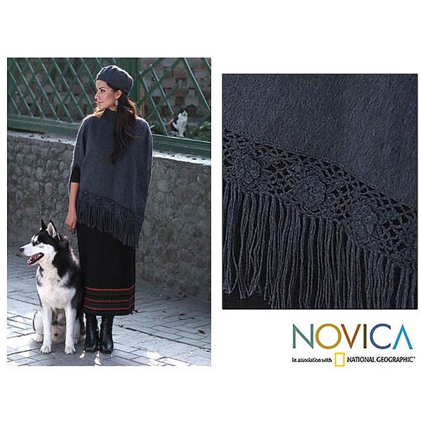 'Princess Grey' Alpaca Wool Poncho and Hat (Peru)