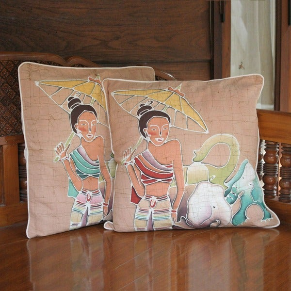 Set of 2 Cotton 'Grace and Power' Cushion Covers (Thailand)