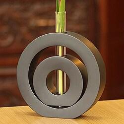 Mango Wood 'Successive Circles' Vase (Thailand)