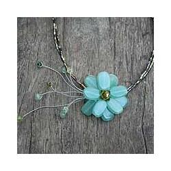 Verdant Chic Aqua Quartzite Gemstone Flower on Multicolor Beaded Wire Adjustable Womens Fashion Choker Necklace (Thailand)