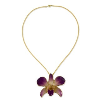 Goldplated Orchid 'Orchid Fantasy' Brooch Necklace (Thailand)