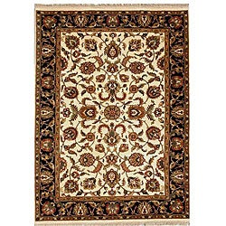Hand-knotted Cream Black Wool Rug (6' x 9')