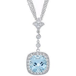 Glitzy Rocks Sterling Silver Blue Topaz and CZ Triple Chain Necklace