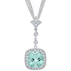 Glitzy Rocks Sterling Silver Caribbean Mist And CZ Necklace