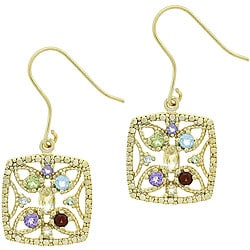Glitzy Rocks 18k Gold over Sterling Silver Multi-gemstone Earrings