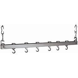 Brushed Chrome 36-inch Ceiling Kitchen Rack