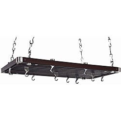 Rectangular Espresso Wood Ceiling Rack