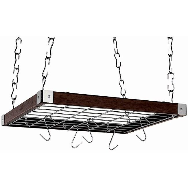 Square Espresso Wood Ceiling Rack