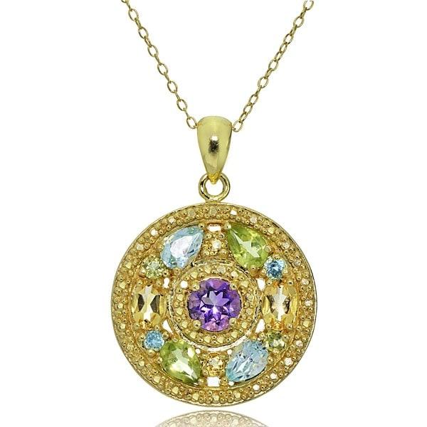 Glitzy Rocks 18k Gold and Sterling Silver Multi-gemstone Medallion Necklace