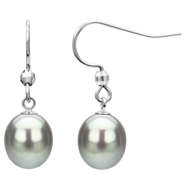 DaVonna Sterling Silver Grey Freshwater Pearl Earrings (9-10 mm)