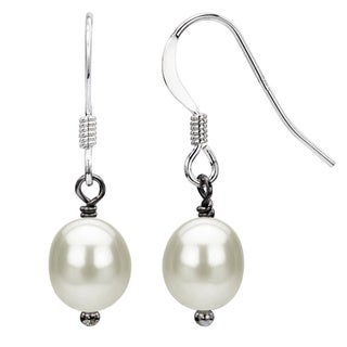DaVonna Silver White FW Pearl Drop Earrings (6-7 mm)