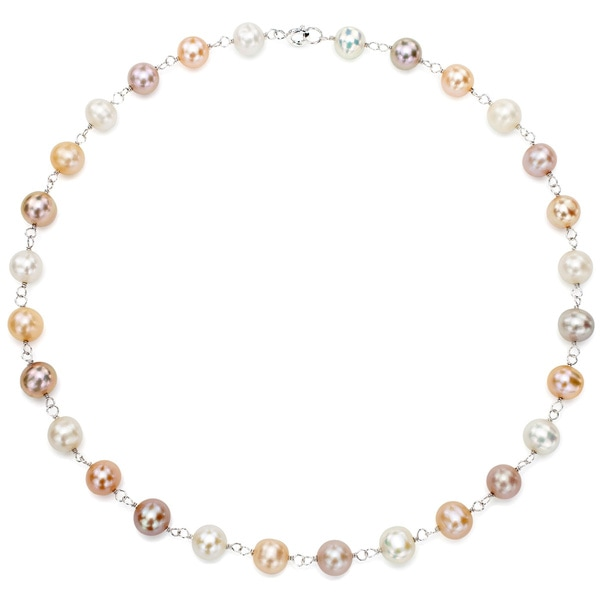 DaVonna Silver Multi-color FW Pearl Link Necklace (8-8.5 mm)