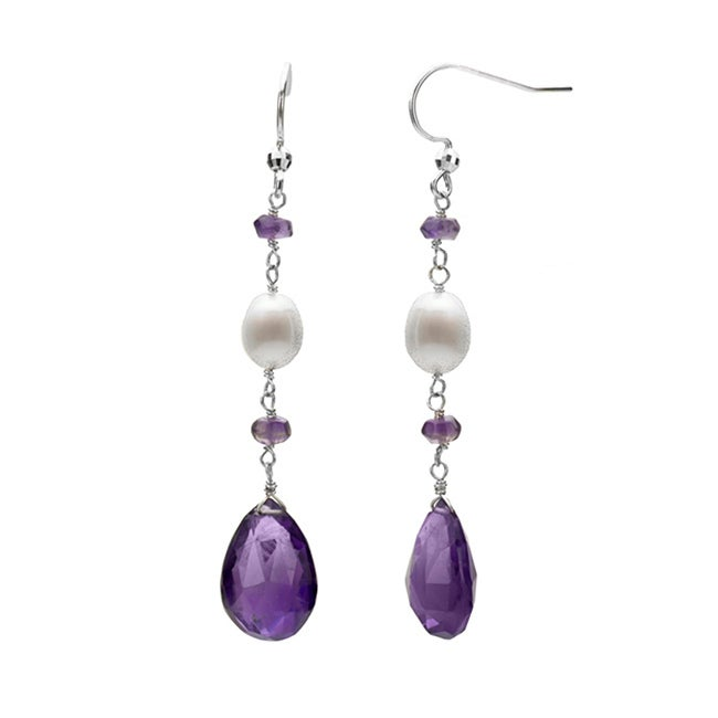DaVonna Silver White FW Pearl and Amethyst Hangy Earrings (7-8 mm)