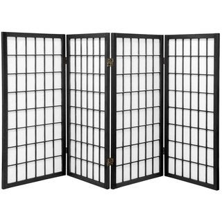 Handmade 3' Wood and Paper Panel Miniature Window Pane Shoji Screen