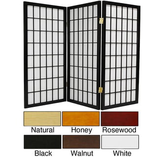 Wood/ Paper 3-foot 3-panel Miniature Windowpane Shoji Screen (China)