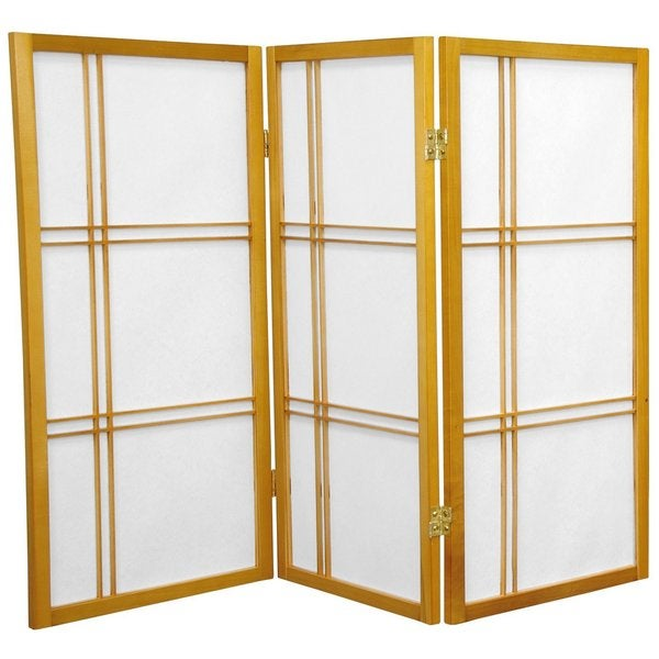 Wood and Rice Paper Double Cross 3-foot Shoji Screen (China)