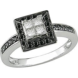 10k Gold 1/2ct TDW Princess Cut Black and White Diamond Ring (H-I, I1-I2)