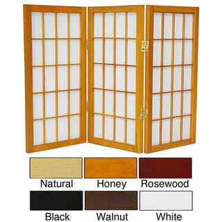 Wood/ Paper 2-foot 3-panel Miniature Windowpane Shoji Screen (China)