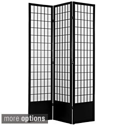 Wood and Rice Paper 6.5-foot 3-panel Windowpane Room Divider (China)
