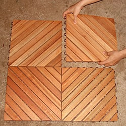 Eucalyptus 12-slat Diagonal Snapping Deck Tile (Set of 10)